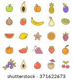 fruit  icons set.vector   Shutterstock .eps vector #371622673