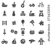 Toys Black Icons Set.vector.