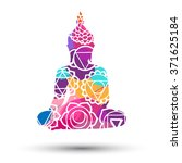 abstract sitting buddha... | Shutterstock .eps vector #371625184