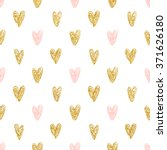 seamless polka dot gold hearts... | Shutterstock .eps vector #371626180