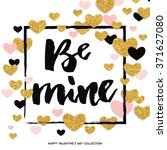 happy valentines day   gold... | Shutterstock .eps vector #371627080