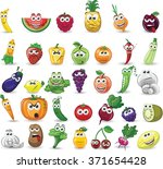 cartoon vegetables and fruits  | Shutterstock .eps vector #371654428