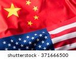 Usa And China. Usa Flag And...