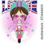 vector fashion girls london... | Shutterstock .eps vector #371666614