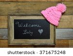 welcome baby girl announcement. ... | Shutterstock . vector #371675248