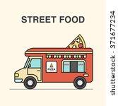 street food van with pizza....   Shutterstock .eps vector #371677234
