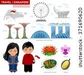Travel To Singapore. Set Of...