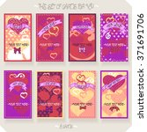 vector set of heart cards. | Shutterstock .eps vector #371691706