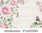 floral watercolor frame with... | Shutterstock . vector #371692564