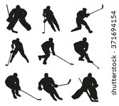 ice hockey players silhouettes... | Shutterstock .eps vector #371694154