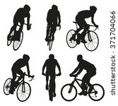 cycling silhouettes  set of... | Shutterstock .eps vector #371704066