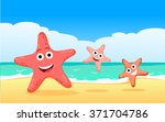 family of starfish on the beach.... | Shutterstock .eps vector #371704786