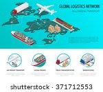 global logistics network flat... | Shutterstock .eps vector #371712553