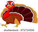 cute  turkey cartoon run | Shutterstock .eps vector #371714350