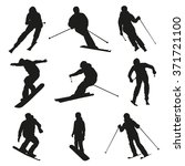 Skier And Snowboarder. Set Of...