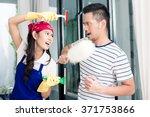 Asian Woman And Man Having Fun...
