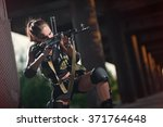 sexy military armed girl with... | Shutterstock . vector #371764648