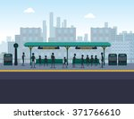 people at train station | Shutterstock .eps vector #371766610