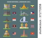asean national landmark(AEC) | Shutterstock vector #371772058