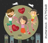 happy valentine with my family | Shutterstock .eps vector #371792668