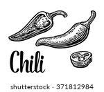 chili and slice pepper. black... | Shutterstock .eps vector #371812984