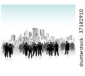 business people urban crowd ... | Shutterstock .eps vector #37182910