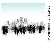 business people urban crowd ...   Shutterstock .eps vector #37182910