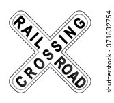 railroad crossing sign | Shutterstock .eps vector #371832754