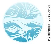 asian steppe landscape....   Shutterstock .eps vector #371864494
