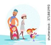 cute cartoon family skating...   Shutterstock .eps vector #371881993