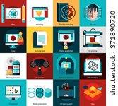 3d technology flat icons set... | Shutterstock .eps vector #371890720
