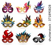 Mask Realistic Icons Set With...