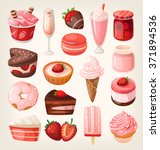 set of delicious sweets and... | Shutterstock .eps vector #371894536