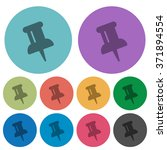 color pin flat icon set on...