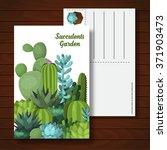 cute succulent vector postcard... | Shutterstock .eps vector #371903473