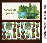 cute succulent vector banners... | Shutterstock .eps vector #371903503