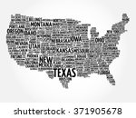 usa map word cloud with most... | Shutterstock . vector #371905678
