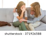 mother comfort her daughter at... | Shutterstock . vector #371926588