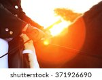 horse rider sunset dark | Shutterstock . vector #371926690