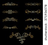 gold curly elements on black  ... | Shutterstock .eps vector #371936578