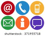 contact us  set of six white... | Shutterstock .eps vector #371955718