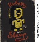 robot vintage tee print design | Shutterstock .eps vector #371957629