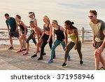 marathon runners taking the... | Shutterstock . vector #371958946