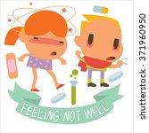 flat  human disease kids. funny ... | Shutterstock .eps vector #371960950