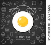 fried egg and hand drawn... | Shutterstock .eps vector #371975203