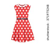 vector polka dot red dress | Shutterstock .eps vector #371975248
