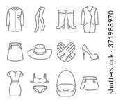 Stock photo female clothes line icons 371988970