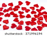 red hearts isolated on a white... | Shutterstock . vector #371996194