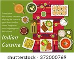 indian cuisine dishes with... | Shutterstock .eps vector #372000769