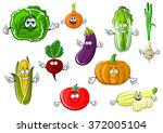 cartoon red tomato  onion ... | Shutterstock .eps vector #372005104